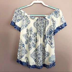 Lucky Brand Off The Shoulder Floral Paisley Top M